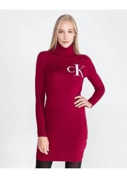 Calvin Klein dámske pletené šaty Beet Red