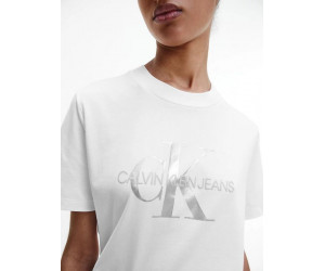 Dámske biele tričko Calvin Klein s metalickým logom
